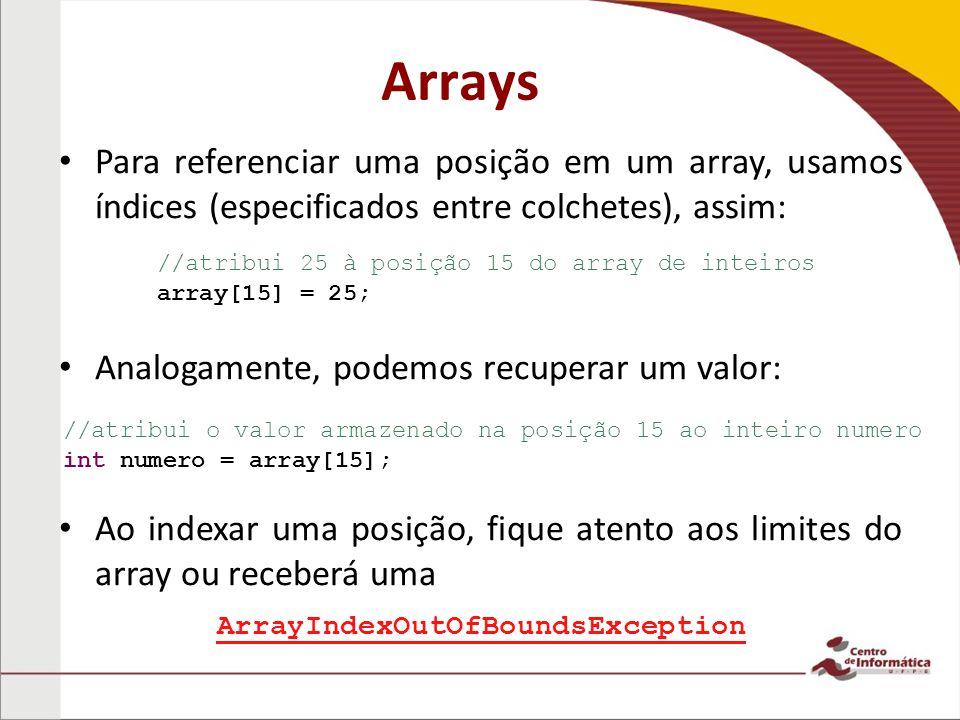 Arrays Para referenciar uma posição em um array, usamos índices (especificados entre colchetes), assim: Analogamente, podemos recuperar um valor: Ao indexar uma posição, fique atento aos limites do array ou receberá uma //atribui 25 à posição 15 do array de inteiros array[15] = 25; //atribui o valor armazenado na posição 15 ao inteiro numero int numero = array[15]; ArrayIndexOutOfBoundsException