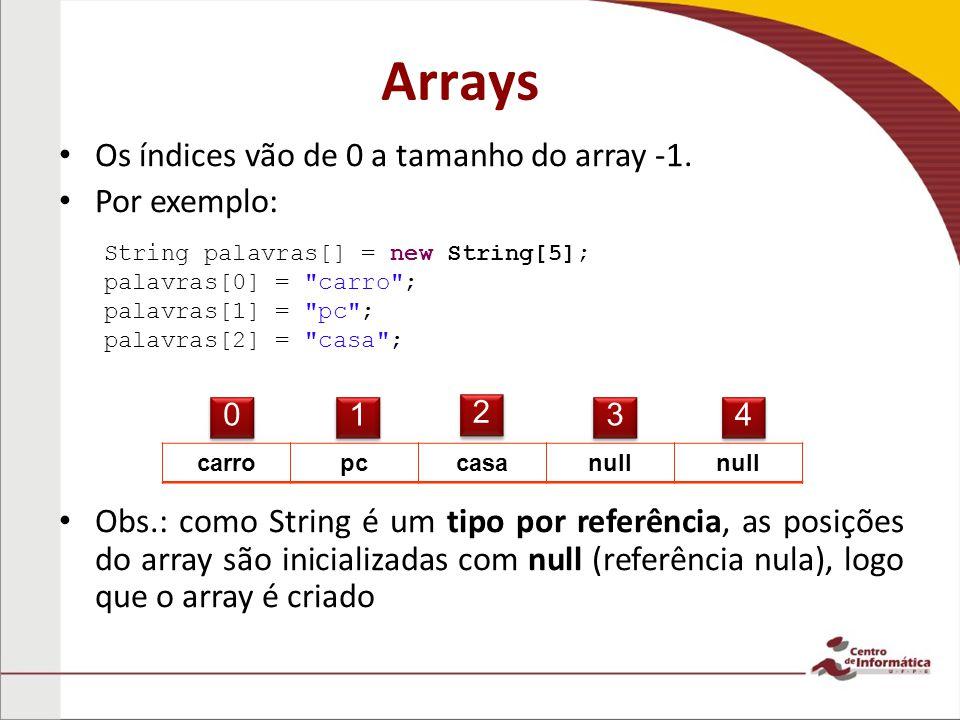 Arrays Os índices vão de 0 a tamanho do array -1.