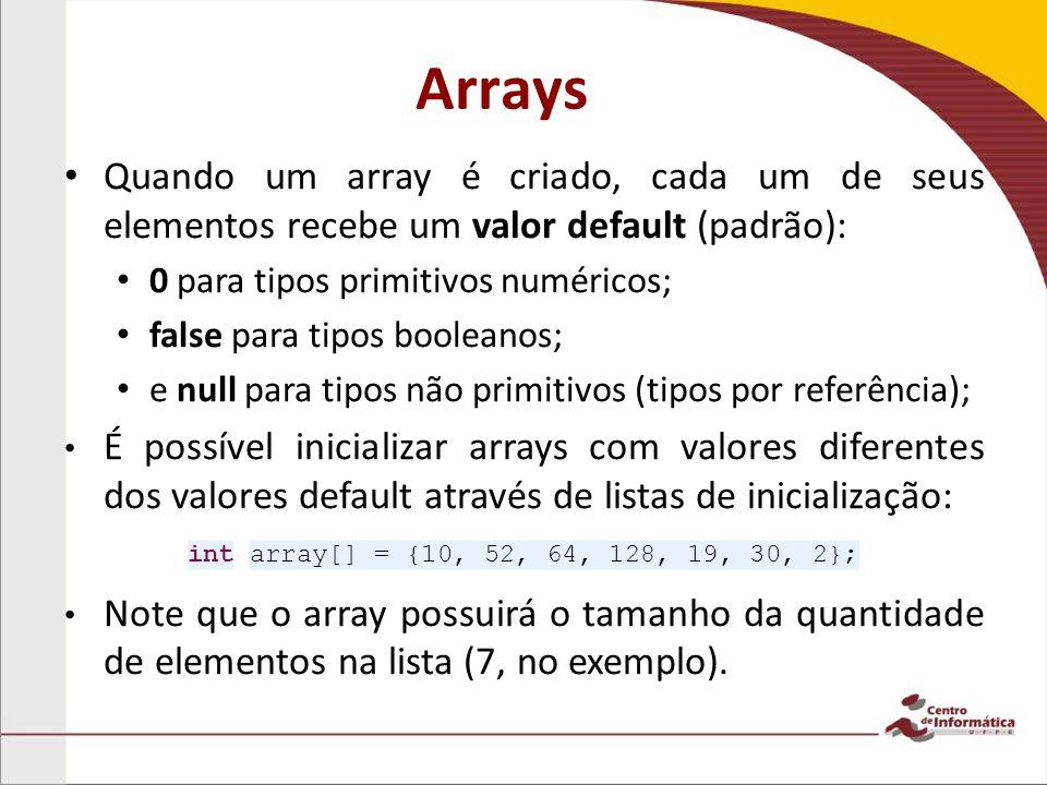 Arrays Quando um array é criado, cada um de seus elementos recebe um valor default (padrão): 0 para tipos primitivos numéricos; false para tipos booleanos; e null para tipos não primitivos (tipos por referência); É possível inicializar arrays com valores diferentes dos valores default através de listas de inicialização: Note que o array possuirá o tamanho da quantidade de elementos na lista (7, no exemplo).