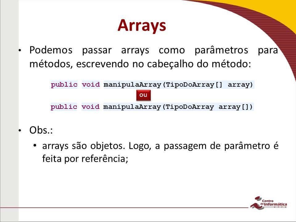 Arrays Podemos passar arrays como parâmetros para métodos, escrevendo no cabeçalho do método: Obs.: arrays são objetos.