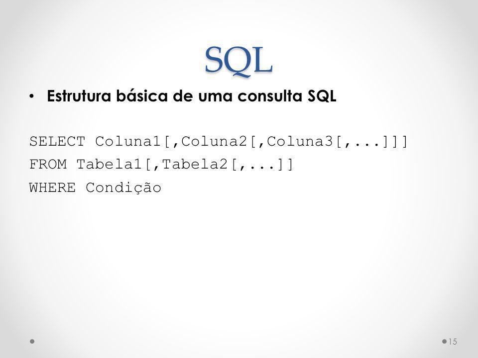 SQL Estrutura básica de uma consulta SQL SELECT Coluna1[,Coluna2[,Coluna3[,...]]] FROM Tabela1[,Tabela2[,...]] WHERE Condição 15