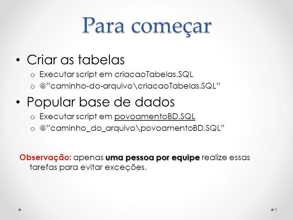 Para começar Criar as tabelas o Executar script em criacaoTabelas.SQL o @caminho-do-arquivo\criacaoTabelas.SQL Popular base de dados o Executar script