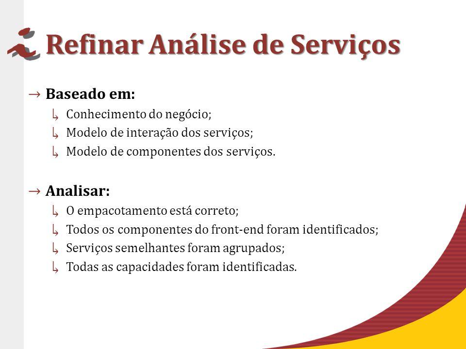 Refinar Análise de Serviços Baseado em: Conhecimento do negócio; Modelo de interação dos serviços; Modelo de componentes dos serviços.
