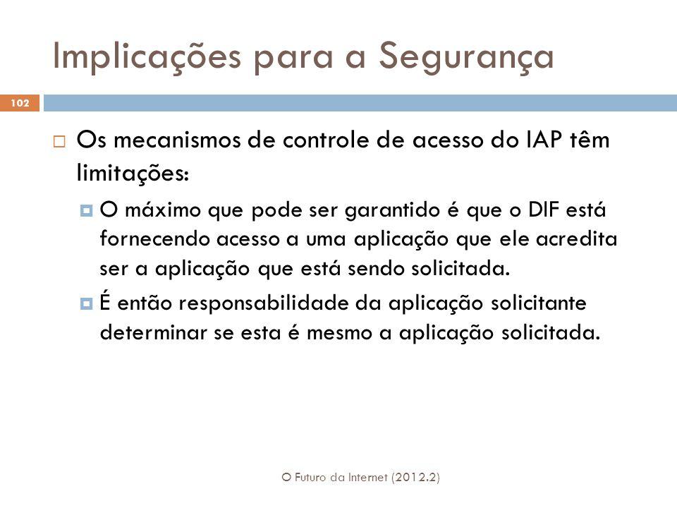 Implicações para a Segurança O Futuro da Internet (2012.2) 102 Os mecanismos de controle de acesso do IAP têm limitações: O máximo que pode ser garant