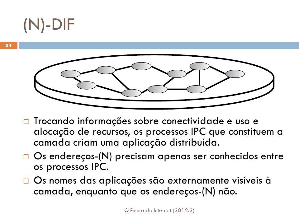 (N)-DIF O Futuro da Internet (2012.2) 84 Trocando informações sobre conectividade e uso e alocação de recursos, os processos IPC que constituem a cama