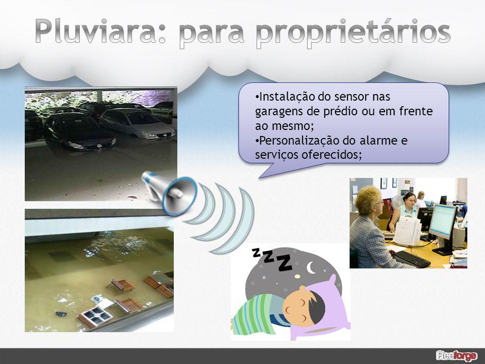 Instalação do sensor nas garagens de prédio ou em frente ao mesmo; Personalização do alarme e serviços oferecidos;