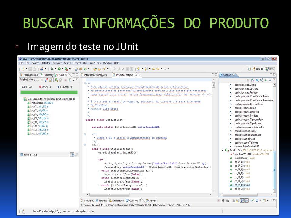 BUSCAR INFORMAÇÕES DO PRODUTO Imagem do teste no JUnit