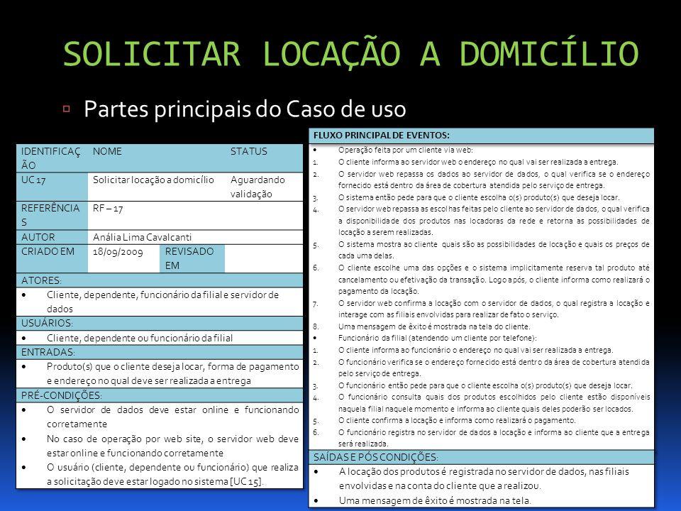 SOLICITAR LOCAÇÃO A DOMICÍLIO SOLICITAR LOCAÇÃO A DOMICÍLIO Partes principais do Caso de uso