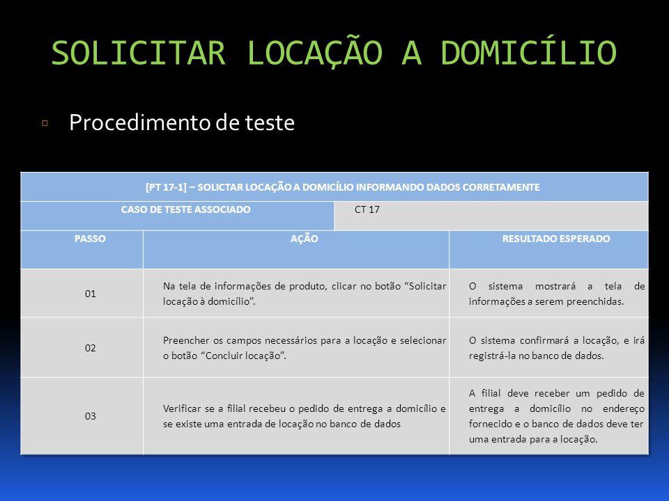SOLICITAR LOCAÇÃO A DOMICÍLIO Procedimento de teste