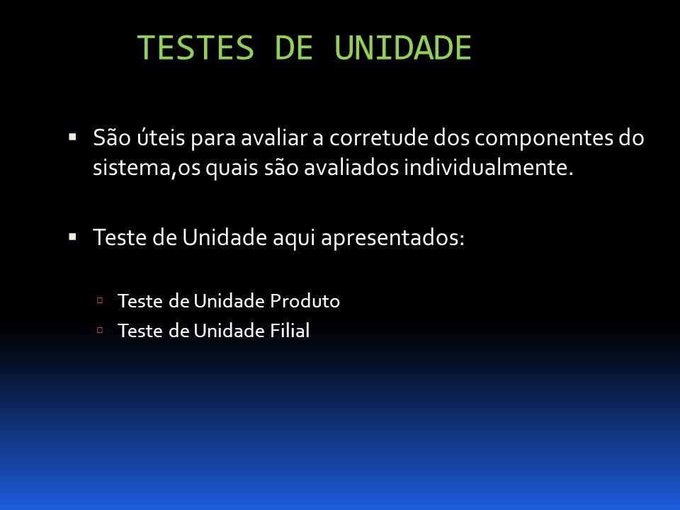 TESTES DE UNIDADE São úteis para avaliar a corretude dos componentes do sistema,os quais são avaliados individualmente. Teste de Unidade aqui apresent