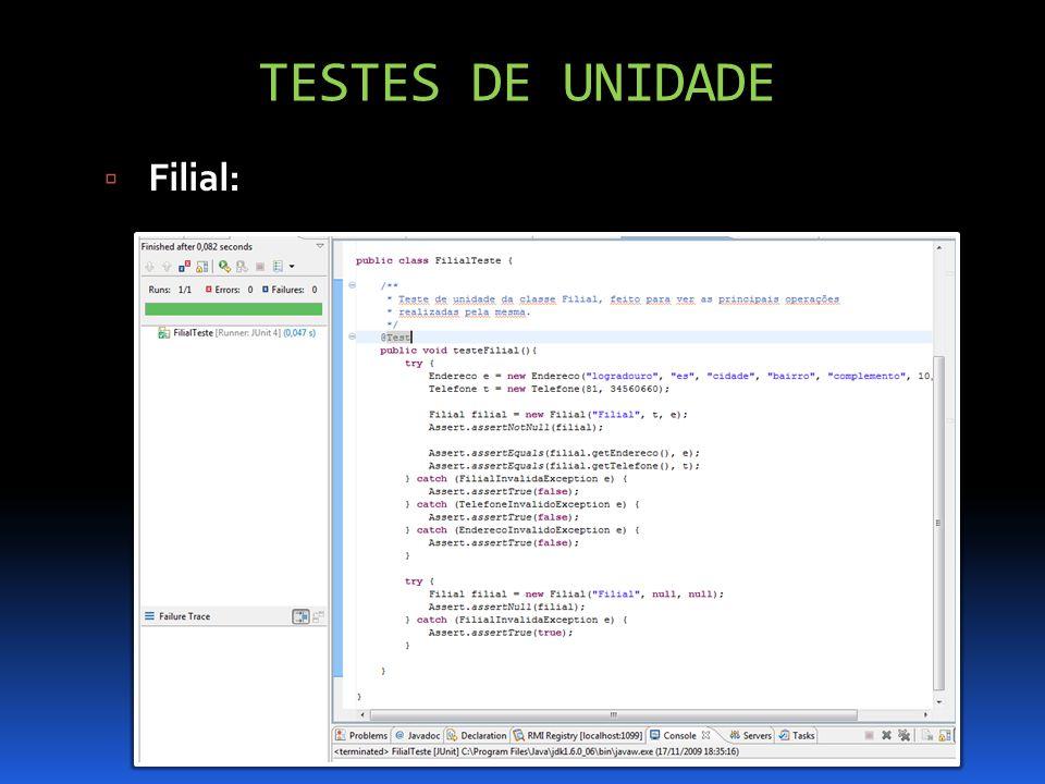 TESTES DE UNIDADE Filial: