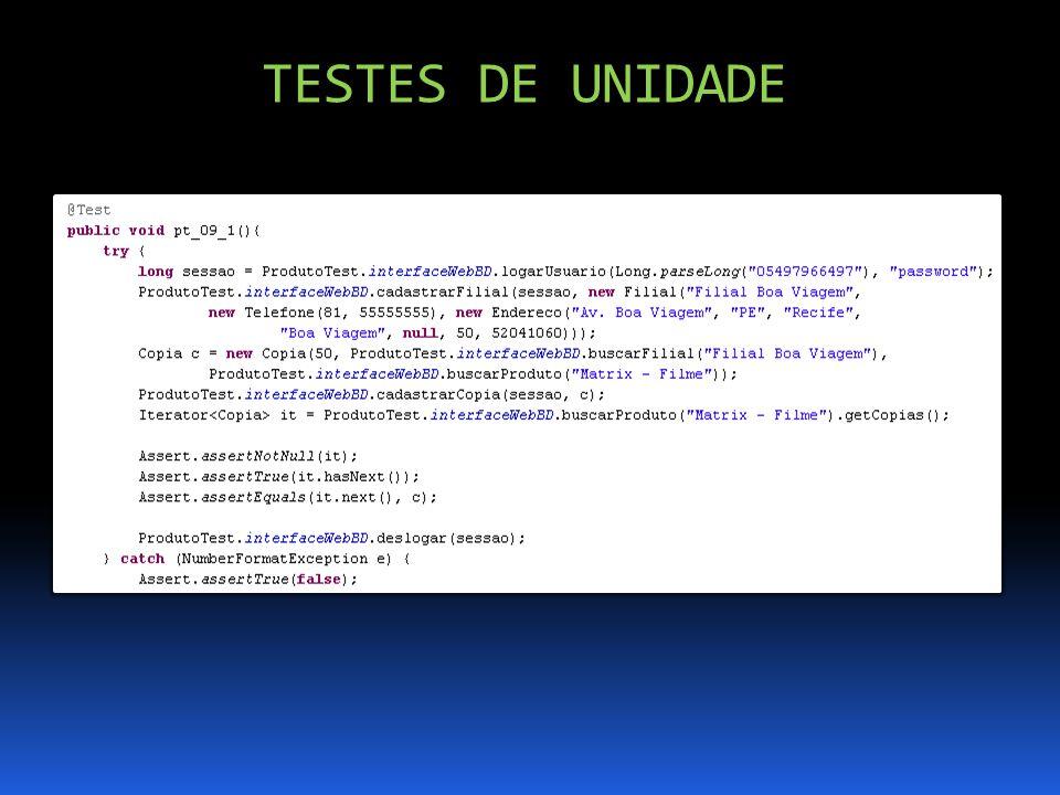 TESTES DE UNIDADE