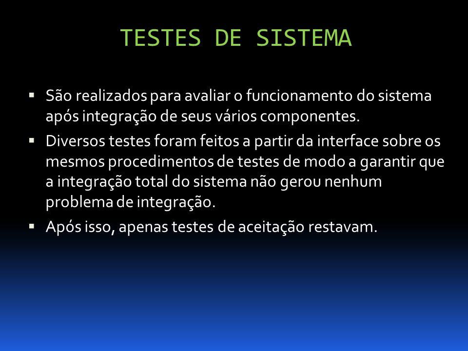 TESTES DE SISTEMA São realizados para avaliar o funcionamento do sistema após integração de seus vários componentes. Diversos testes foram feitos a pa