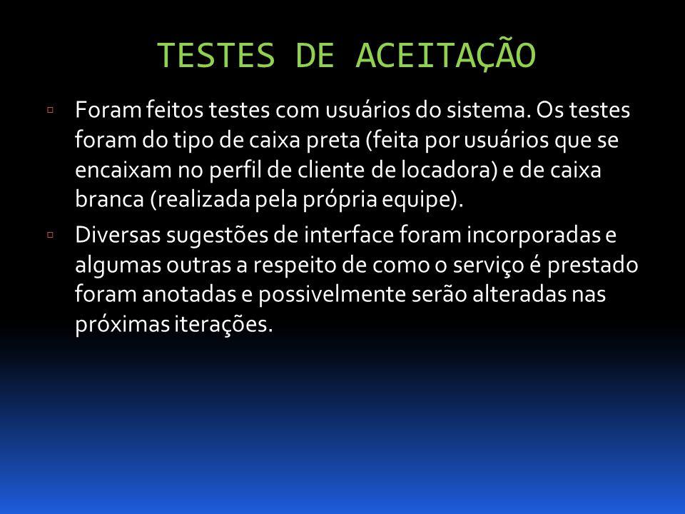 TESTES DE ACEITAÇÃO Foram feitos testes com usuários do sistema. Os testes foram do tipo de caixa preta (feita por usuários que se encaixam no perfil