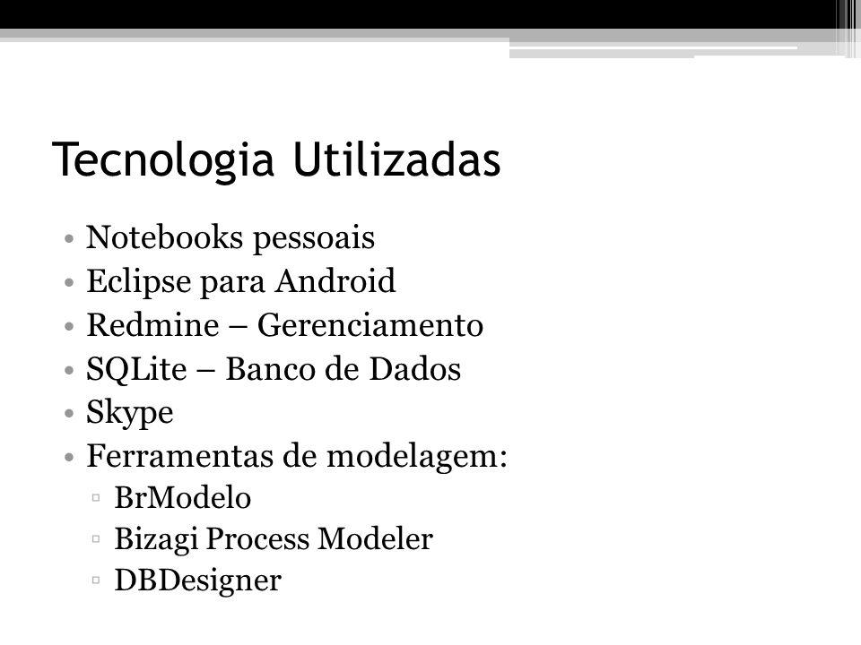Tecnologia Utilizadas Notebooks pessoais Eclipse para Android Redmine – Gerenciamento SQLite – Banco de Dados Skype Ferramentas de modelagem: BrModelo