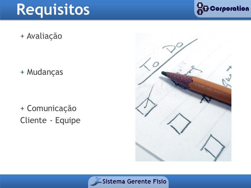 Requisitos Sistema Gerente Fisio + Avaliação + Mudanças + Comunicação Cliente - Equipe