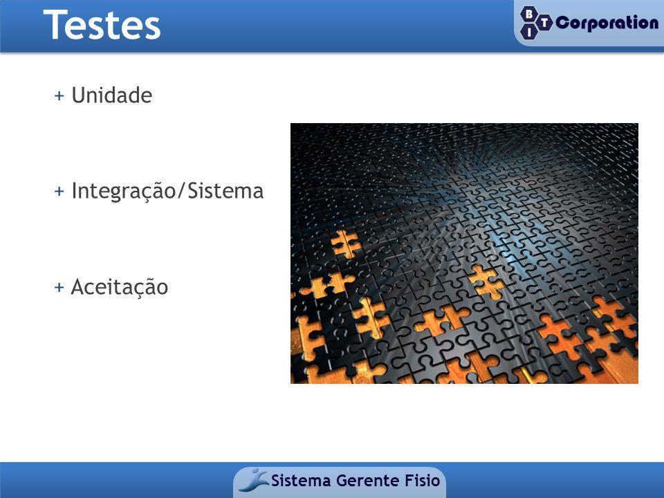 Testes Sistema Gerente Fisio + Unidade + Integração/Sistema + Aceitação