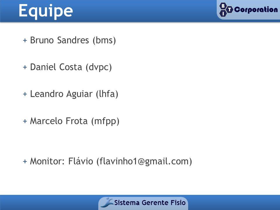 Equipe Sistema Gerente Fisio + Bruno Sandres (bms) + Daniel Costa (dvpc) + Leandro Aguiar (lhfa) + Marcelo Frota (mfpp) + Monitor: Flávio (flavinho1@g