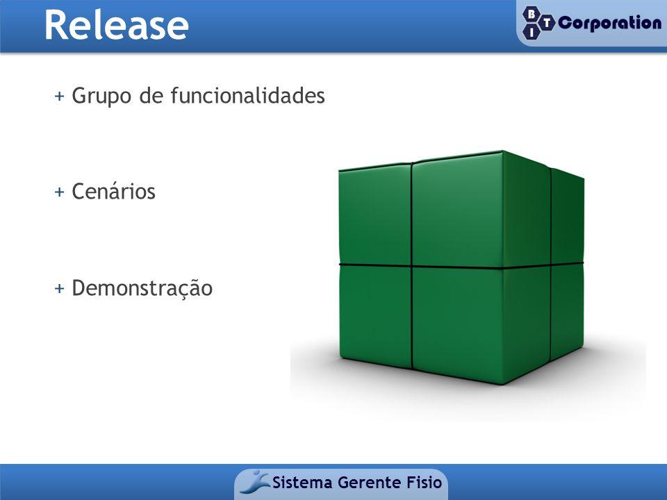 Release Sistema Gerente Fisio + Grupo de funcionalidades + Cenários + Demonstração