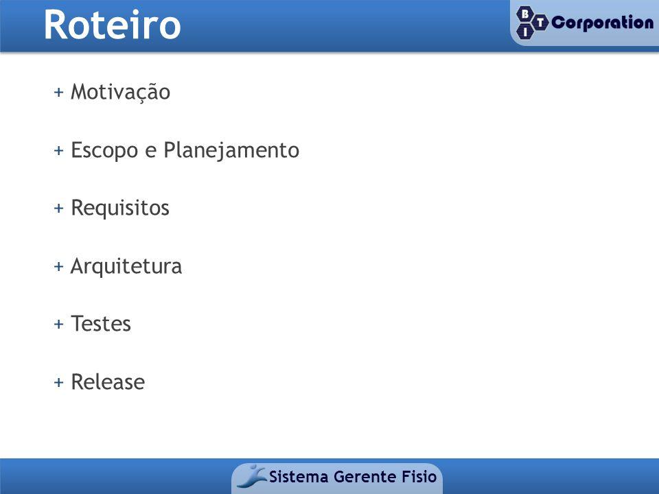 Roteiro Sistema Gerente Fisio + Motivação + Escopo e Planejamento + Requisitos + Arquitetura + Testes + Release