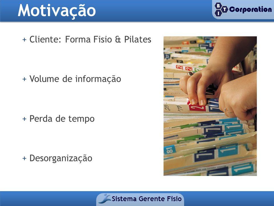 + Cliente: Forma Fisio & Pilates + Volume de informação + Perda de tempo + Desorganização Motivação
