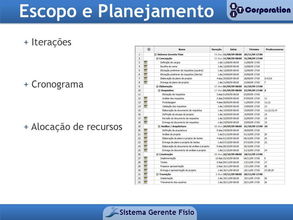 Escopo e Planejamento Sistema Gerente Fisio + Iterações + Cronograma + Alocação de recursos