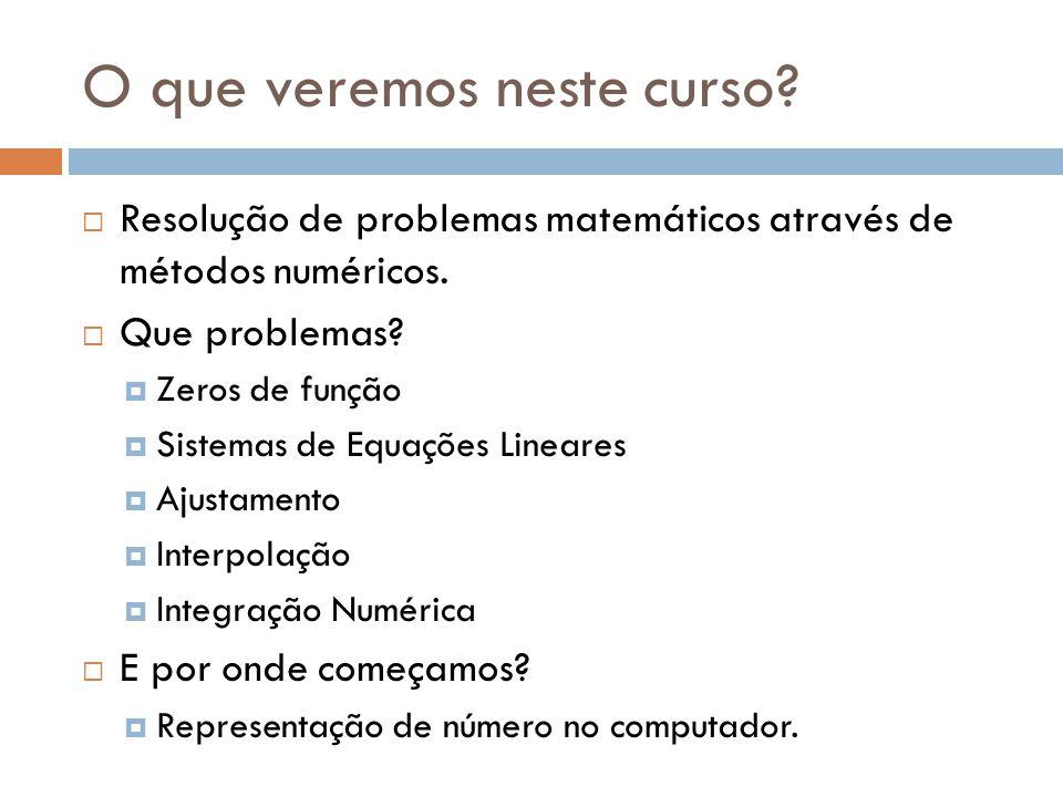 O que veremos neste curso. Resolução de problemas matemáticos através de métodos numéricos.