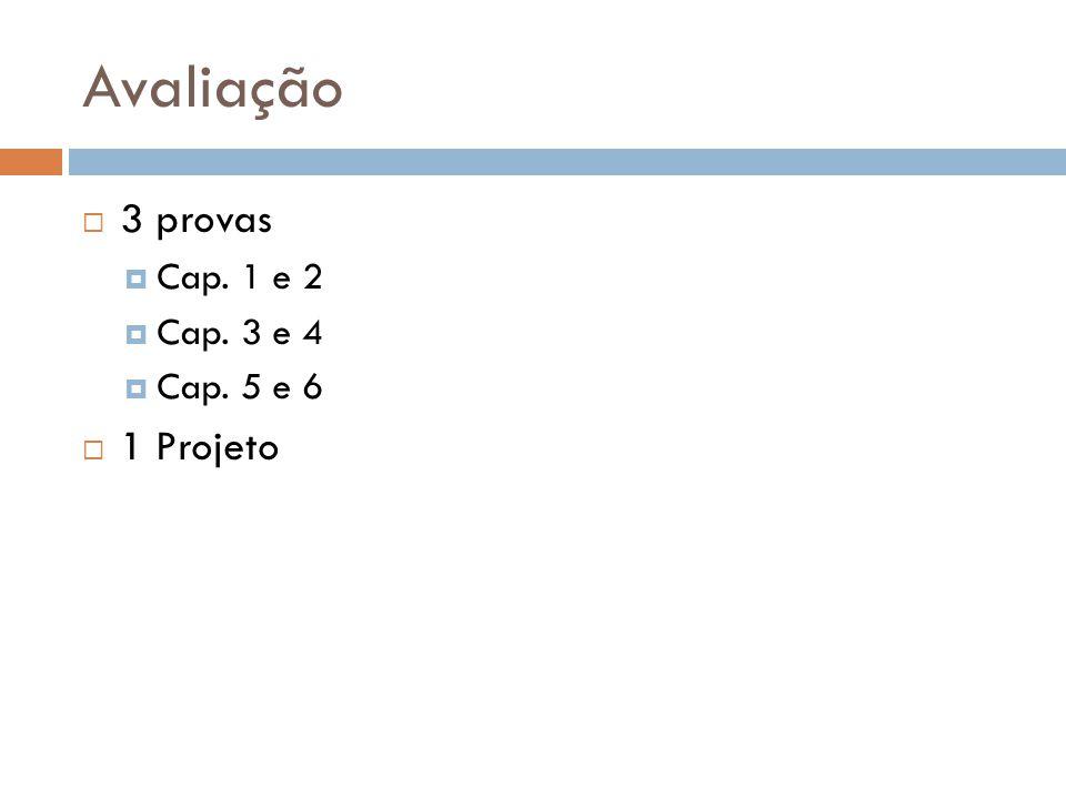 Avaliação 3 provas Cap. 1 e 2 Cap. 3 e 4 Cap. 5 e 6 1 Projeto