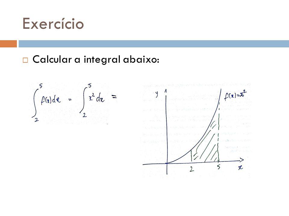 Exercício Calcular a integral abaixo: