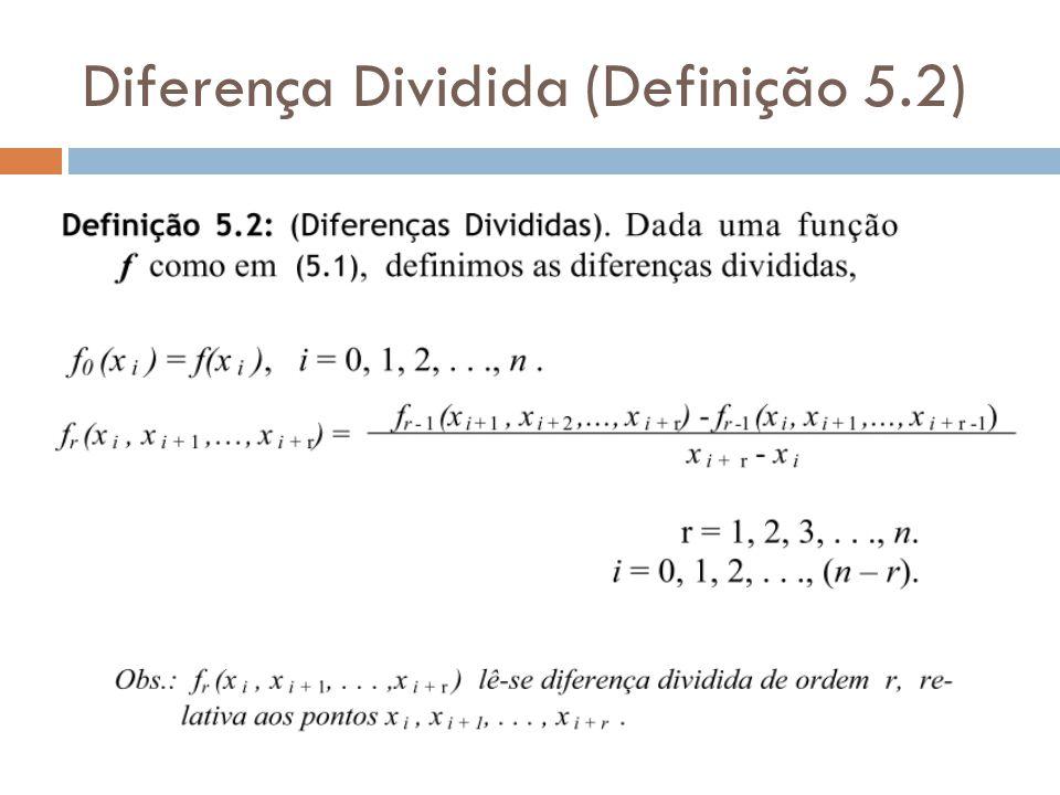 Tabela de Pontos Equidistantes (Definição 5.3) Exemplo: