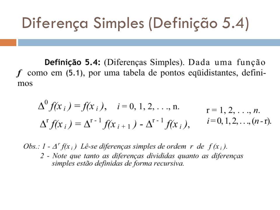 Exemplo 5.3 Determine todas as diferenças simples e divididas relativas à tabela Solução: Verificar se a tabela é de pontos equidistantes.