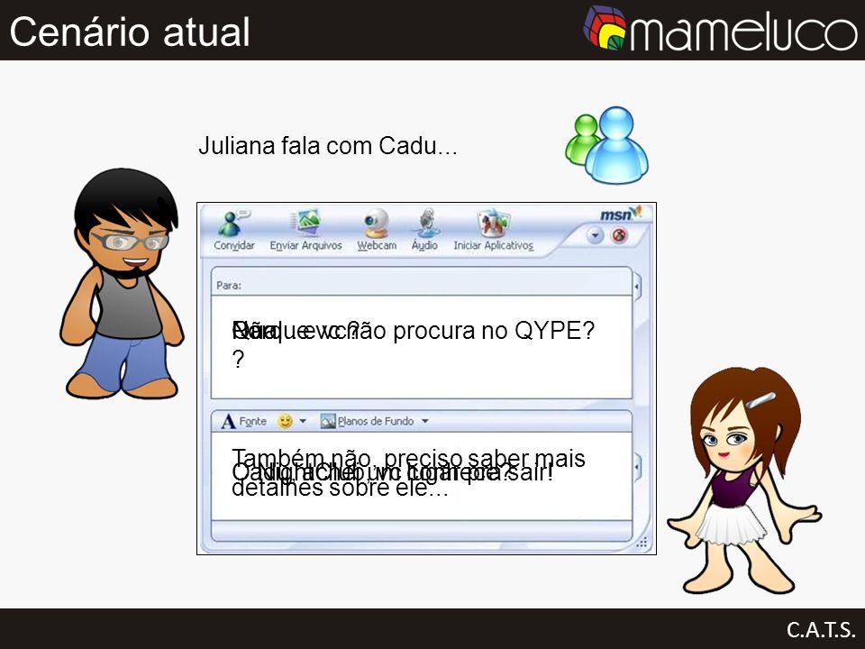 Cenário atual C.A.T.S. Juliana fala com Cadu... Cadu, achei um lugar pra sair! Qual ? O NightClub, vc conhece? Não... e vc? Também não, preciso saber