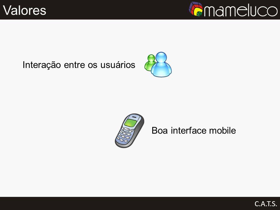 Valores C.A.T.S. Interação entre os usuários Boa interface mobile