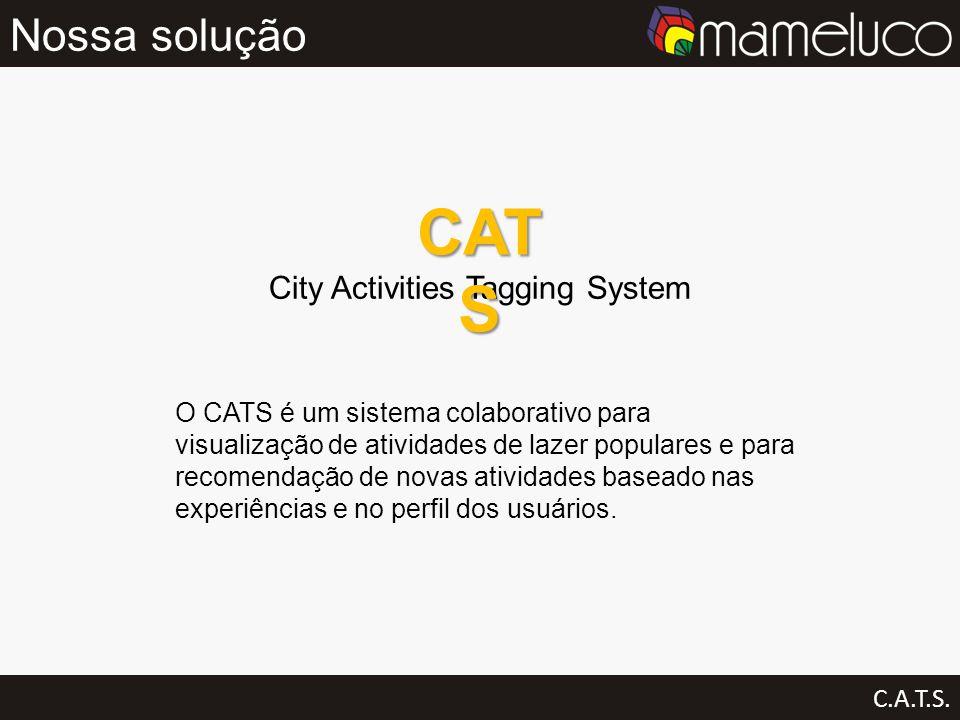 Nossa solução C.A.T.S. City Activities Tagging System CAT S O CATS é um sistema colaborativo para visualização de atividades de lazer populares e para