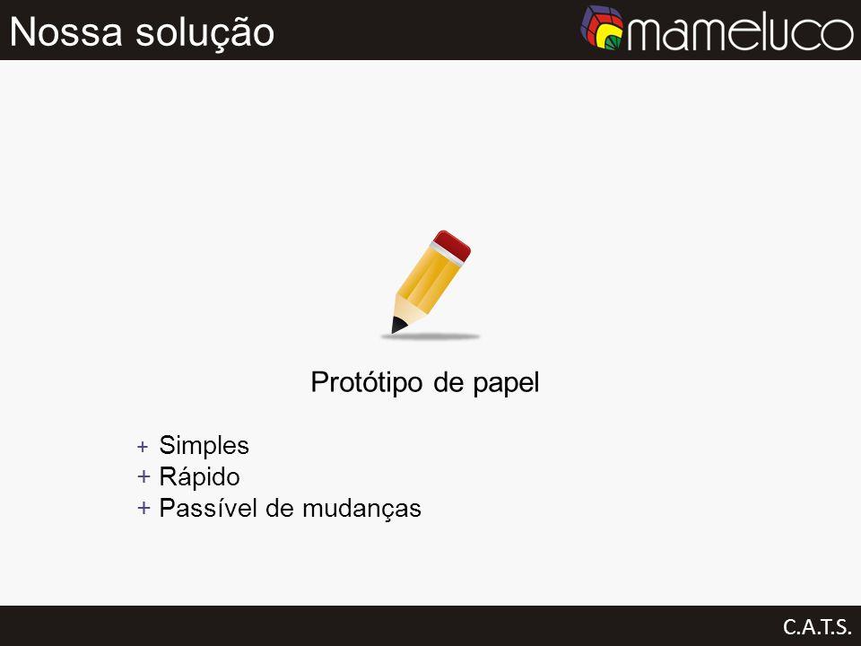 Nossa solução C.A.T.S. Protótipo de papel Simples Rápido Passível de mudanças