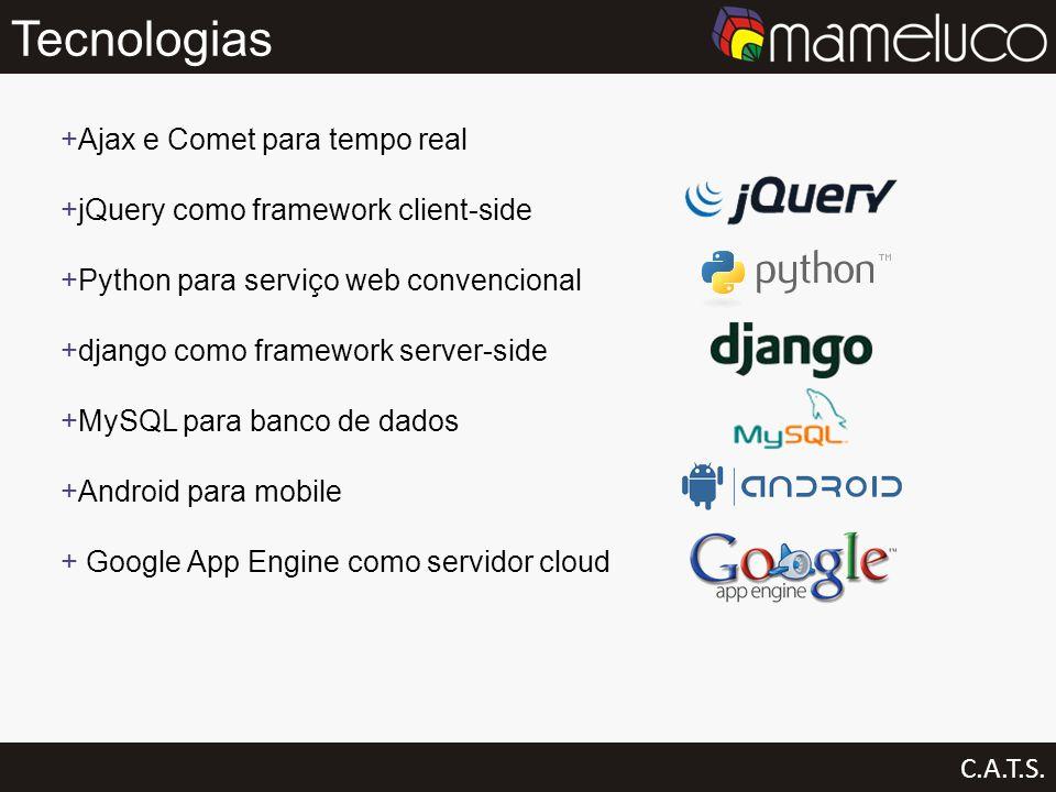 Tecnologias C.A.T.S. Ajax e Comet para tempo real jQuery como framework client-side Python para serviço web convencional django como framework server-