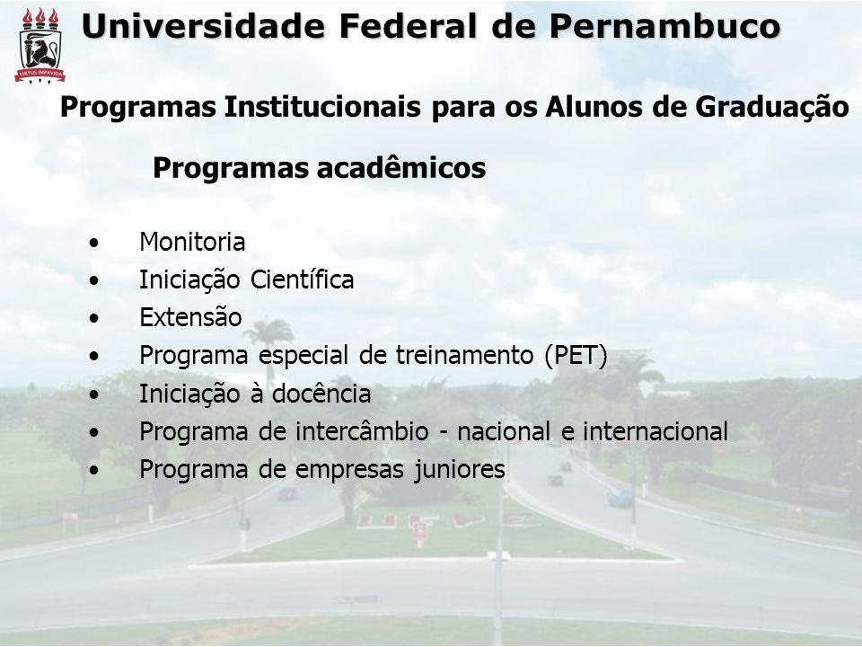 Universidade Federal de Pernambuco Monitoria Iniciação Científica Extensão Programa especial de treinamento (PET) Iniciação à docência Programa de int