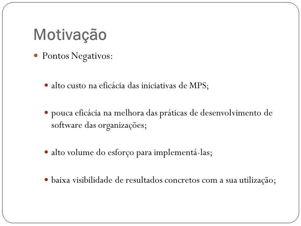 Motivação Pontos Negativos: alto custo na eficácia das iniciativas de MPS; pouca eficácia na melhora das práticas de desenvolvimento de software das organizações; alto volume do esforço para implementá-las; baixa visibilidade de resultados concretos com a sua utilização;