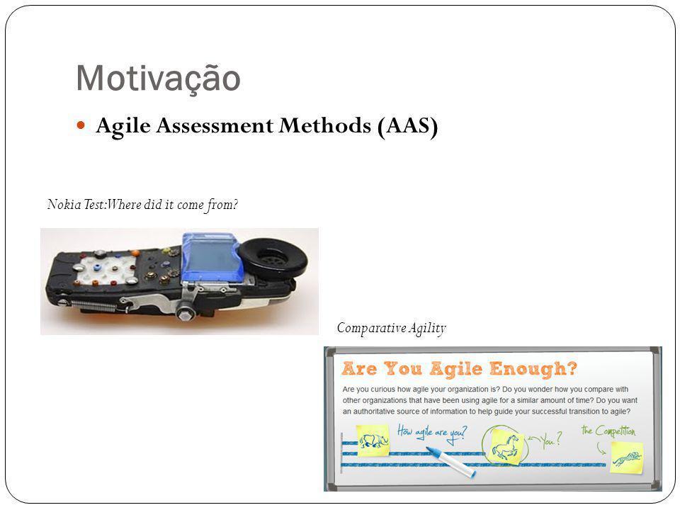 Motivação Agile Assessment Methods (AAS) Nokia Test: Where did it come from? Comparative Agility