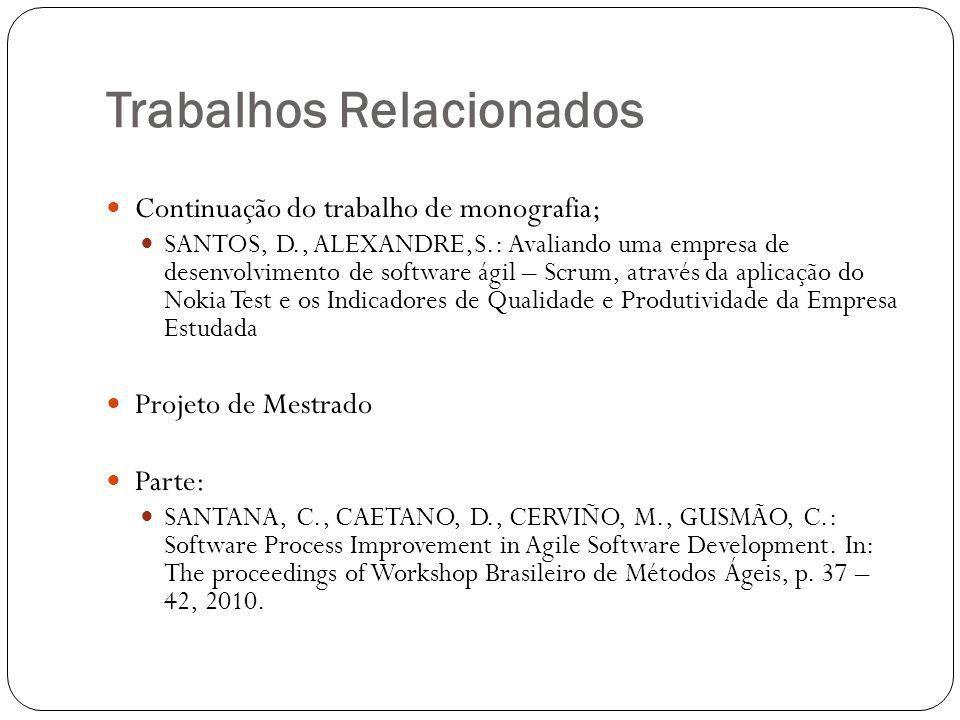 Trabalhos Relacionados Continuação do trabalho de monografia; SANTOS, D., ALEXANDRE,S.: Avaliando uma empresa de desenvolvimento de software ágil – Sc