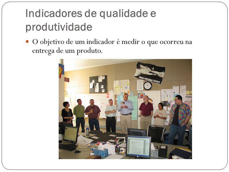 Indicadores de qualidade e produtividade O objetivo de um indicador é medir o que ocorreu na entrega de um produto.
