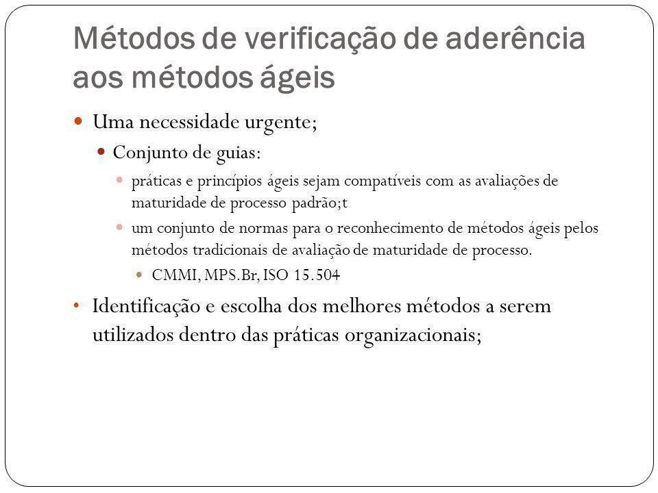 Métodos de verificação de aderência aos métodos ágeis Uma necessidade urgente; Conjunto de guias: práticas e princípios ágeis sejam compatíveis com as