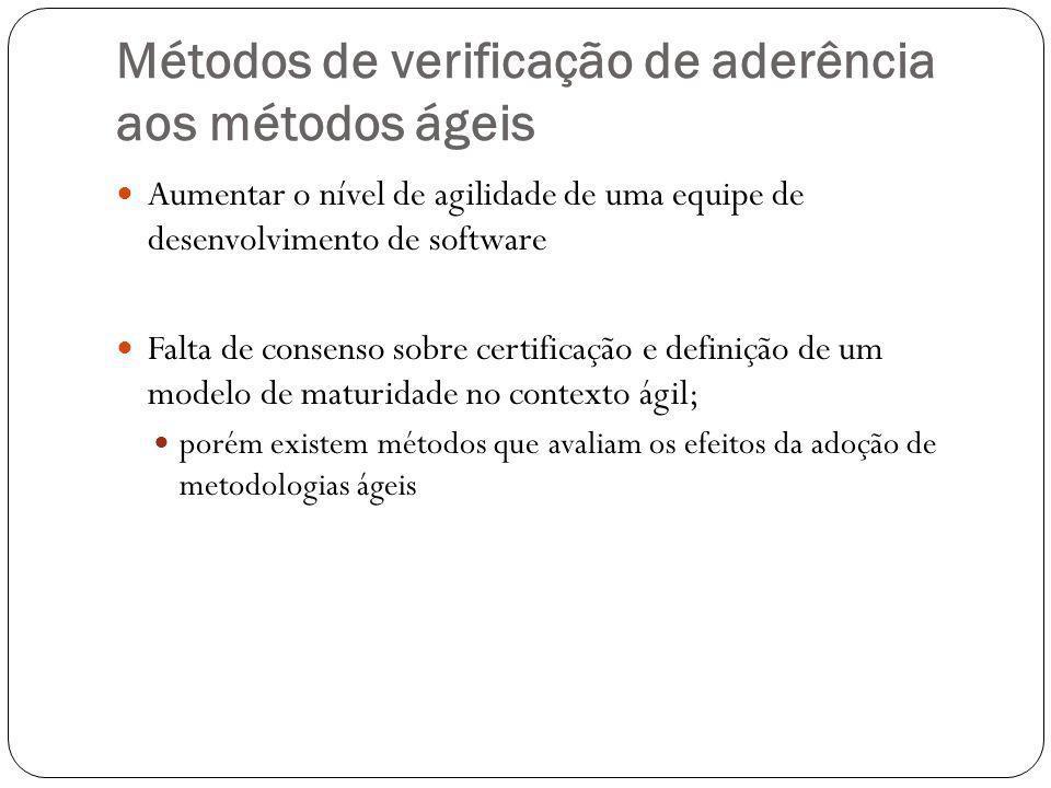 Métodos de verificação de aderência aos métodos ágeis Aumentar o nível de agilidade de uma equipe de desenvolvimento de software Falta de consenso sobre certificação e definição de um modelo de maturidade no contexto ágil; porém existem métodos que avaliam os efeitos da adoção de metodologias ágeis