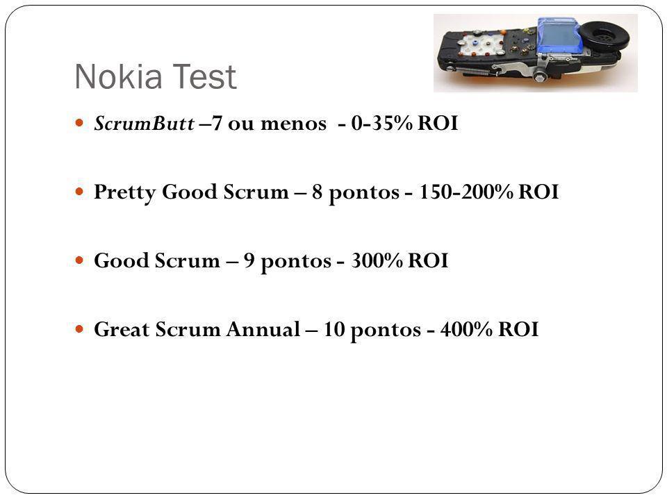 Nokia Test ScrumButt –7 ou menos - 0-35% ROI Pretty Good Scrum – 8 pontos - 150-200% ROI Good Scrum – 9 pontos - 300% ROI Great Scrum Annual – 10 pontos - 400% ROI