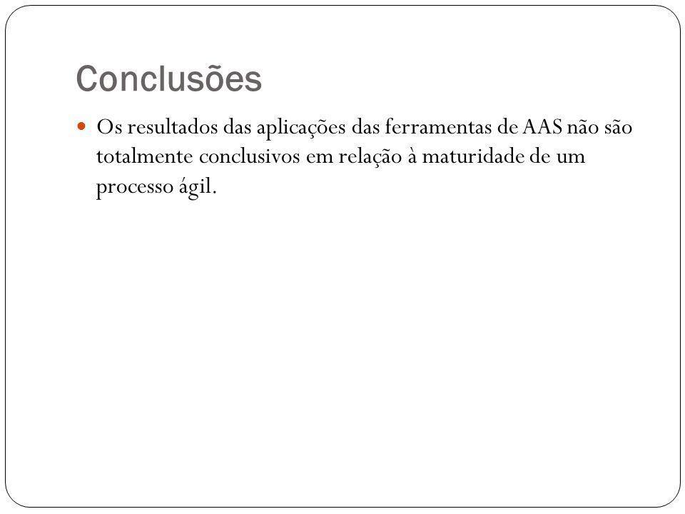 Conclusões Os resultados das aplicações das ferramentas de AAS não são totalmente conclusivos em relação à maturidade de um processo ágil.