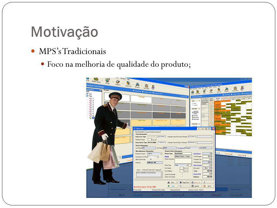 Motivação MPSs Tradicionais Foco na melhoria de qualidade do produto;