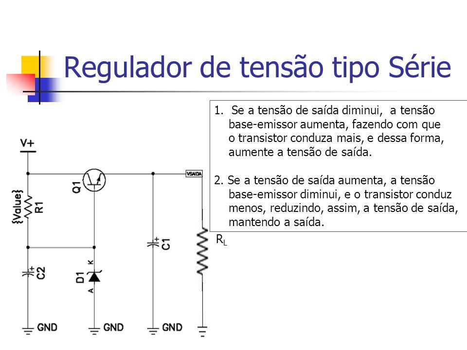 RLRL 1.Se a tensão de saída diminui, a tensão base-emissor aumenta, fazendo com que o transistor conduza mais, e dessa forma, aumente a tensão de saída.