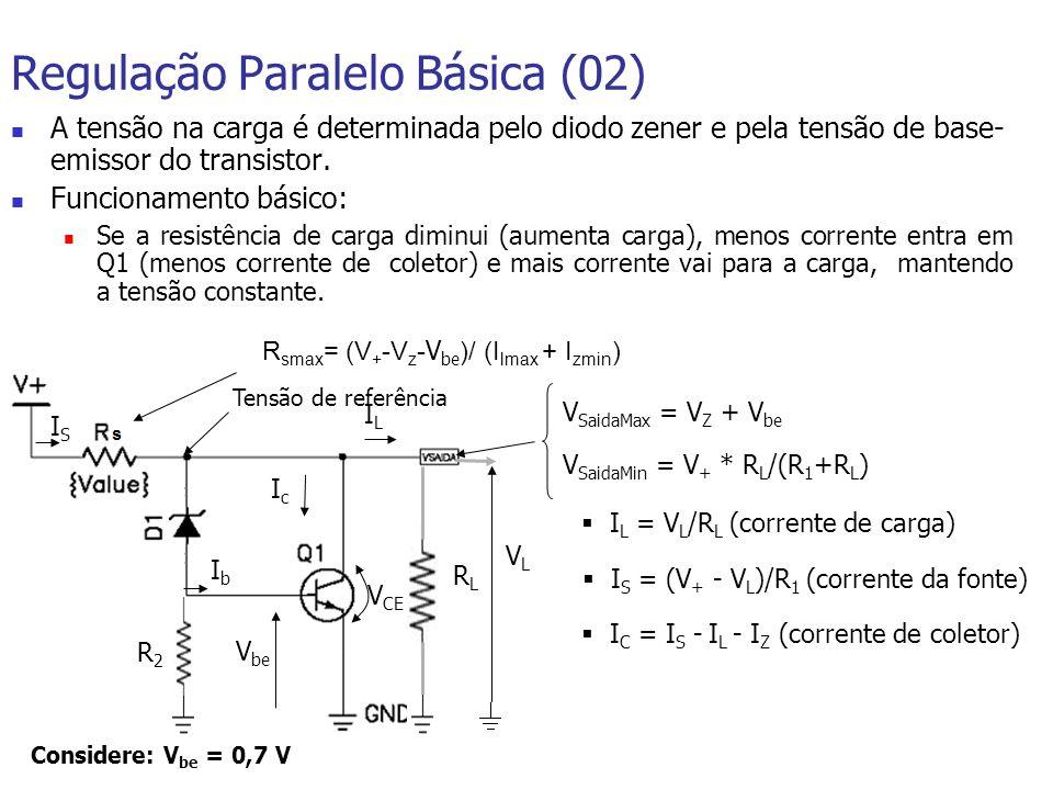 Regulação Paralelo Básica (02) A tensão na carga é determinada pelo diodo zener e pela tensão de base- emissor do transistor.