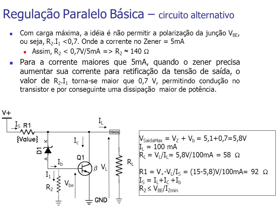 V SaidaMax = V Z + V b = 5,1+0,7=5,8V I L = 100 mA R L = V L /I L = 5,8V/100mA = 58 R1 = V + -V L /I S = (15-5,8)V/100mA= 92 I S = I L +I C +I b R 2 V BE /I Zmin Regulação Paralelo Básica – circuito alternativo V be RLRL IcIc IbIb VLVL ILIL ISIS R2R2 I1I1 Com carga máxima, a idéia é não permitir a polarização da junção V BE, ou seja, R 2.I 1 <0,7.
