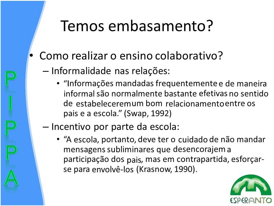 Temos embasamento? Como realizar o ensino colaborativo? – Informalidade nas relações: Informações mandadas freqüentemente e de maneira informal são no